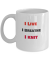 I Live - I breathe - I Knit - Red and black