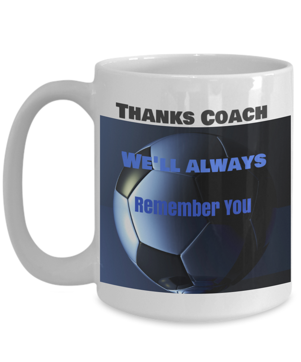 Thanks Coach - We'll Always Remember You- Blue and black soccer ball