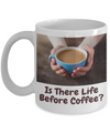 Woman Holding Blue Cup-Is There Life Before Coffee?