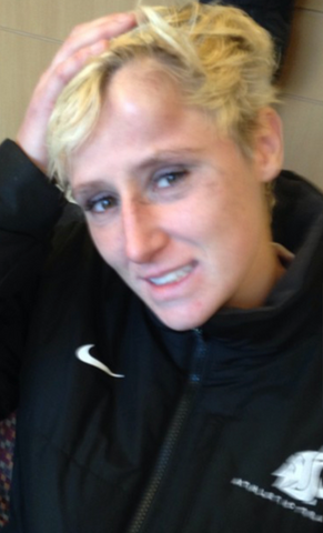 Photo of Nicole after suffering a concussion in her last college match