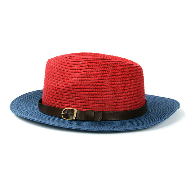 ... Women s Sun Hat Women Summer Foldable Straw Hat Beach Headwear Red and  Blue and Brown and c61c96b717d