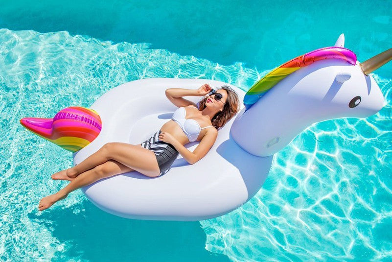 Adult Unicorn Giant Pool Float 6.5 Feet Inflatable Mattress Rideable  Swimming Ring Pool Toy Adult Size