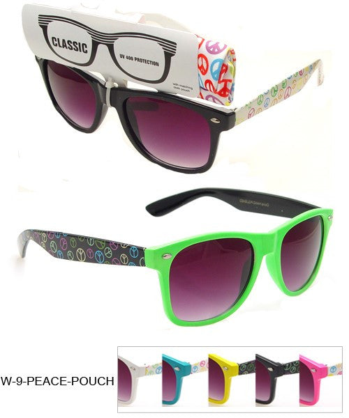 Wholesale Classic Style Sunglasses With Peace & Pouches - wholesalesunglasses.net