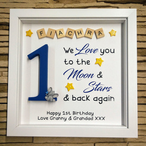 Personalised Birthday Frame - We love you to the moon and stars...