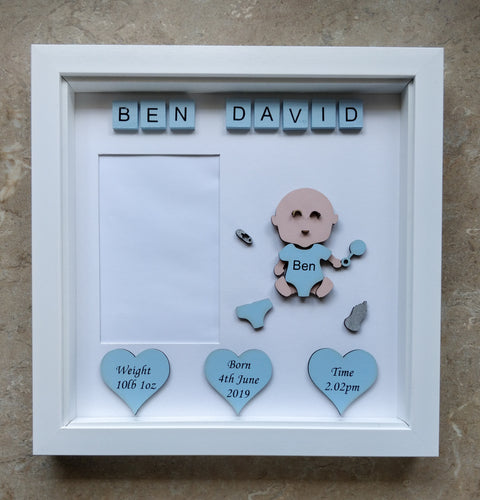Personalised new baby frame with space for photo