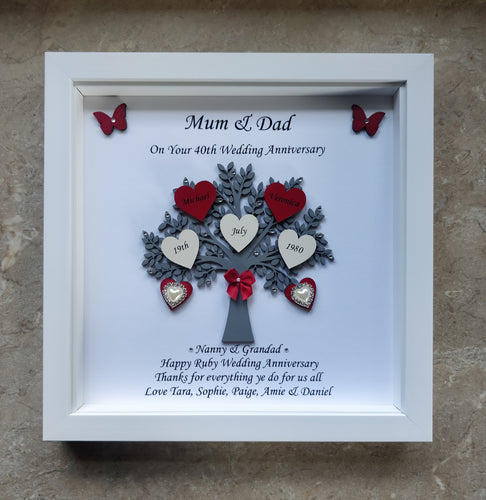 Personalised Wedding Anniversary Small Tree Frame