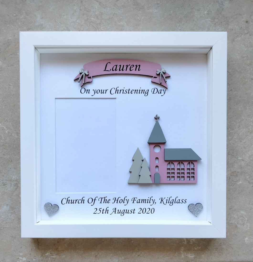 Personalised Christening frame with space for a picture
