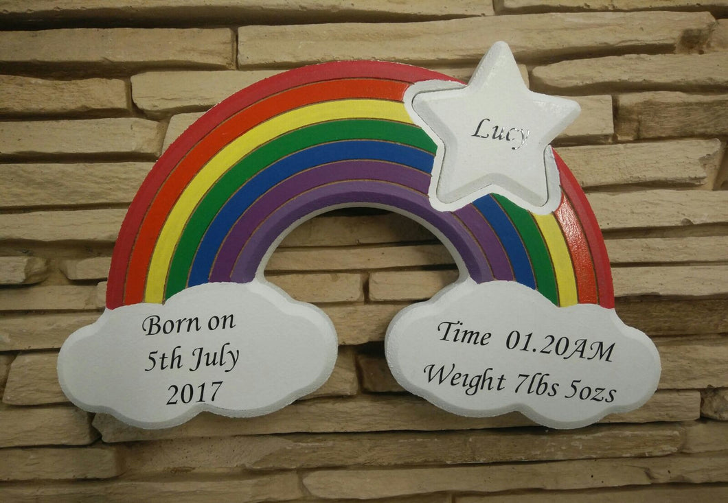 Personalised Rainbow Wooden Ornament