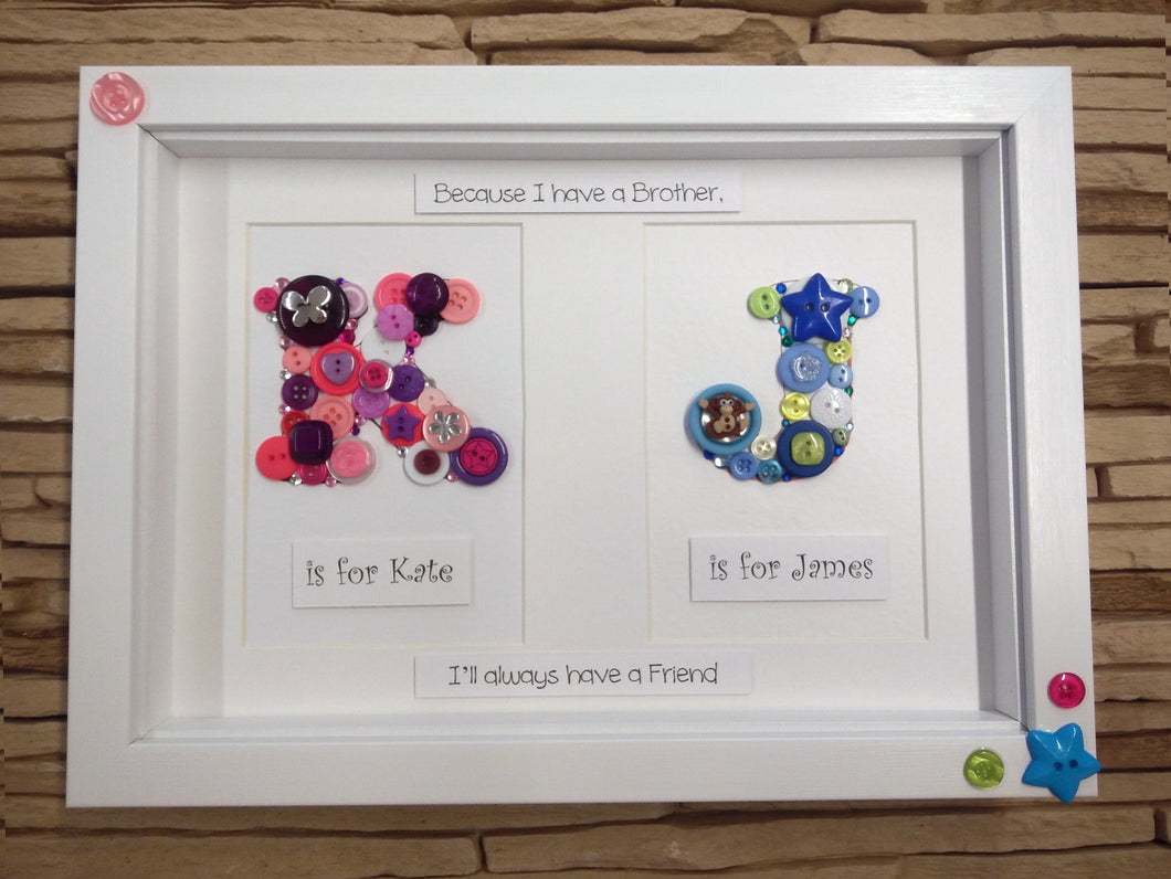 Personalised Double Button Frame – Life-in-Frames