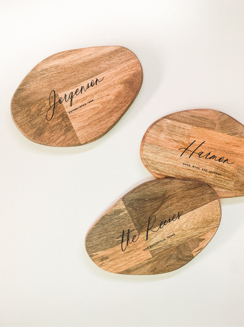 Small Organic Shaped Cutting Board - Classic Calligraphy Custom Engraving