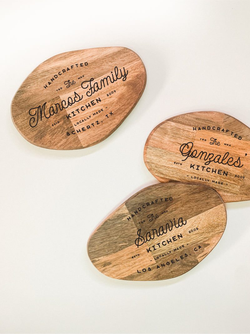 Small Organic Shaped Cutting Board - Family Kitchen Custom Engraving