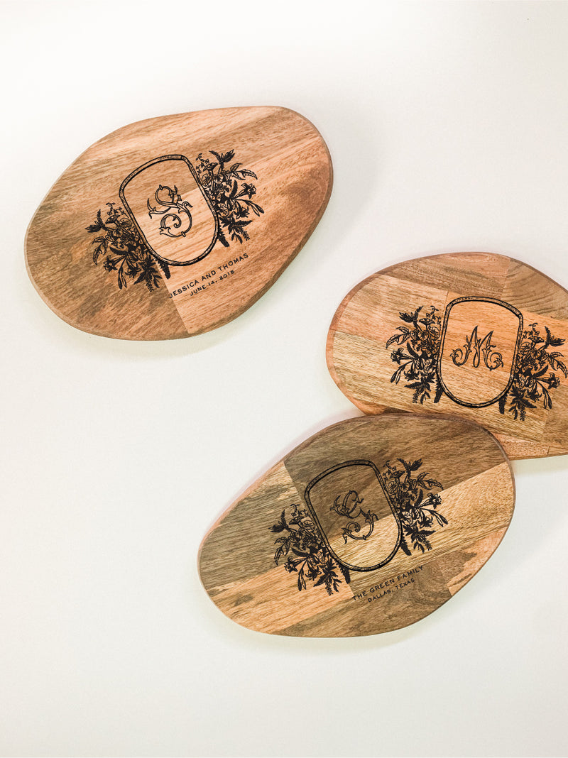 Small Organic Shaped Cutting Board - Ornate Floral Monogram Crest Custom Engraving