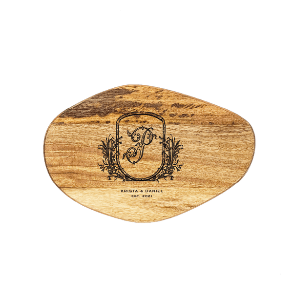 Small Organic Shaped Cutting Board - Ornate Foliage Monogram Crest Custom Engraving