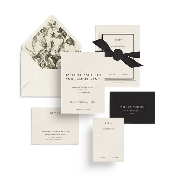 Curated 3 or 5-Piece Invitation Suite Set (Ithaca Collection - Cream Engraved Florals)