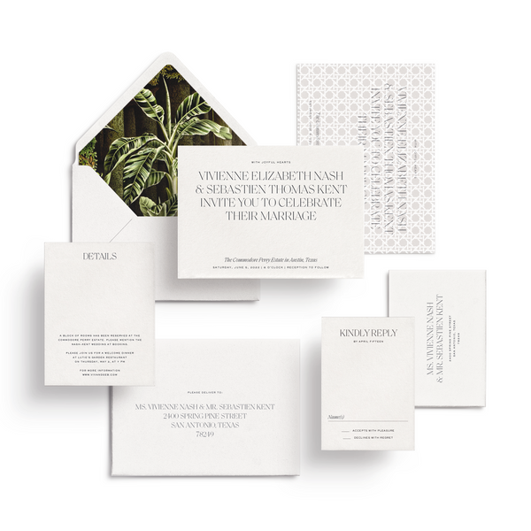 Curated 3 or 5-Piece Invitation Suite Set (Lucca Collection - White)