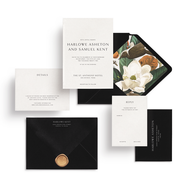 Curated 3 or 5-Piece Invitation Suite Set (Ithaca Collection - Classic Black)