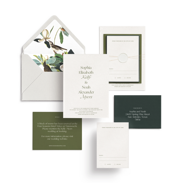 Curated 3-Piece or 5-Piece Invitation Suite Set (Capri Collection - Pops of Green with Wax Seal, Twine, and Envelope Liner)