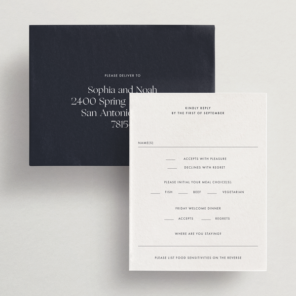 Response Card/Envelope (With Meals/Events) - Capri Collection