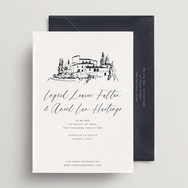 Save-the-Date Card/Envelope - Custom Venue Illustration - Siena Collection
