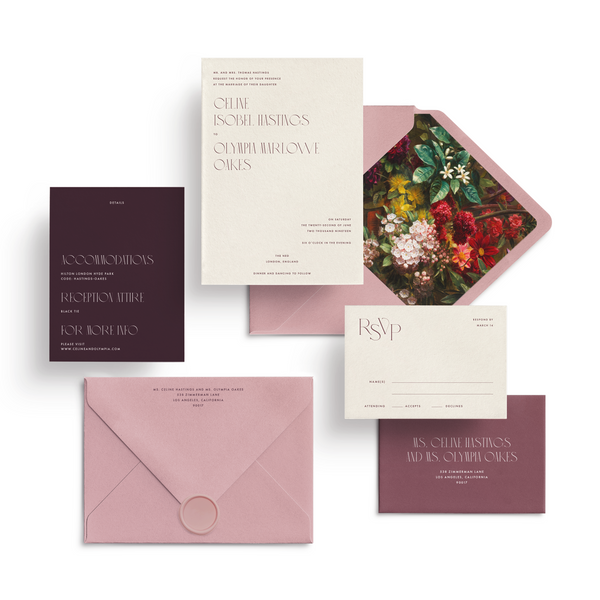 Curated 3-Piece or 5-Piece Invitation Suite Set (Tivoli Collection - Shades of Rose with Wax Seal and Envelope Liner)