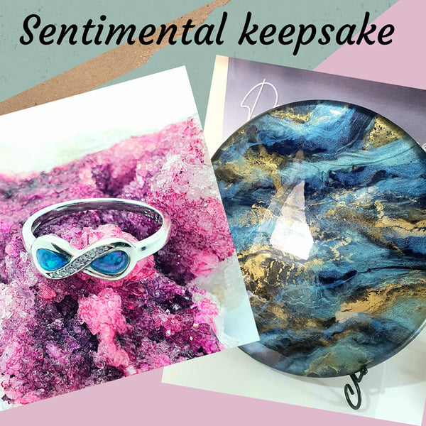 cremation ashes jewellery, memorial jewellery, ashes rings,  cremation ashes in art , pet loss gifts, ashes jewellery made in the UK