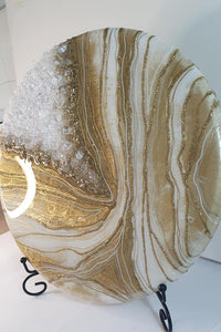 "Super stunning gold and white geode for breast milk (medium 12"") SEE VIDEO introductory offer, fast turn around"