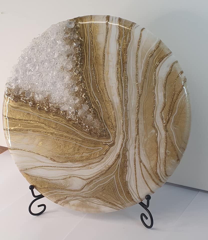 "Super stunning gold and white geode for ashes or breast milk (medium 12"") SEE VIDEO introductory offer, fast turn around"