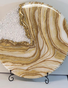 "Super stunning gold and white geode for ashes or breast milk (large 16"") SEE VIDEO introductory offer - add a FREE gold plaque, fast turn around"