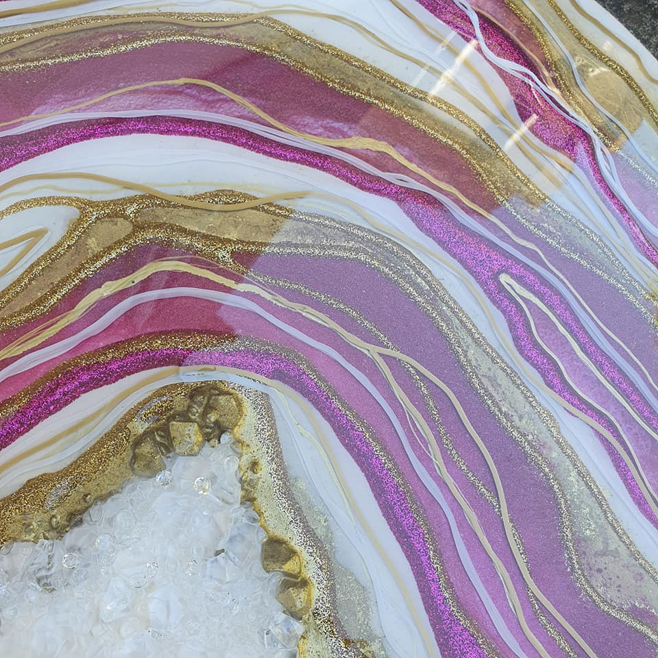 "Beautiful gold and magenta geode for ashes or breast milk (large 16"") SEE VIDEO introductory offer - add a FREE gold plaque, fast turn around"