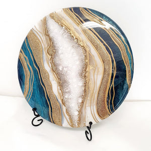 "Stunning teal and gold geode for ashes (12"" round) SEE VIDEO introductory offer - fast turn around"