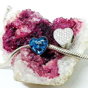 You in my heart - sparkly cz stunning heart charm for your bracelet - colour options - offer for two