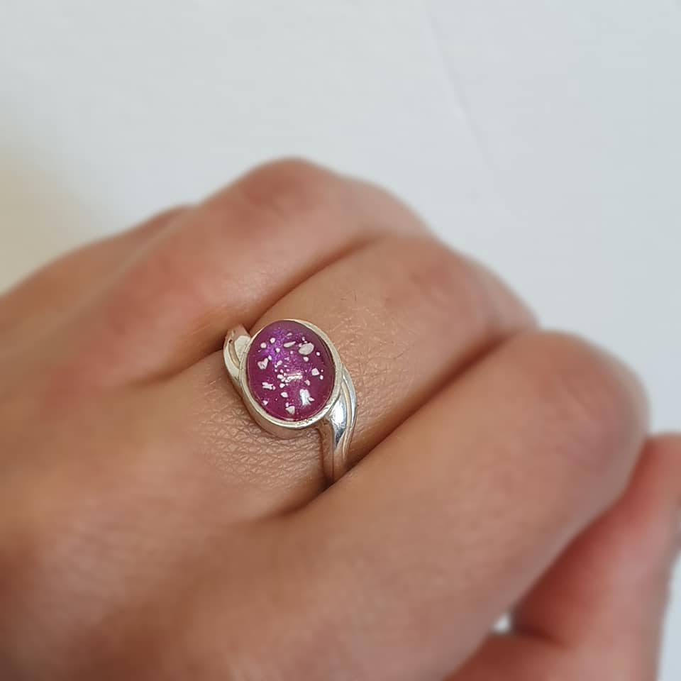 Unique Ashes ring - glass domed - colour choice - popular