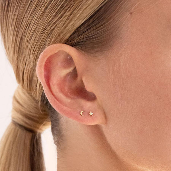 Linda Tahija - Micro Star & Moon Stud Earrings