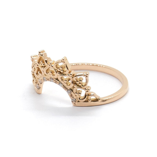Natalie Marie - Double Lace Crown Ring with Diamonds