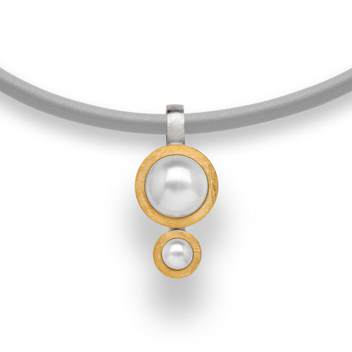Bastian Inverun -Sterling silver and Double Pearl Pendant