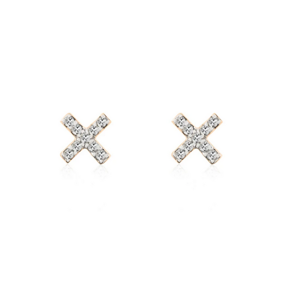 Linda Tahija - Cross Diamond Stud Earrings