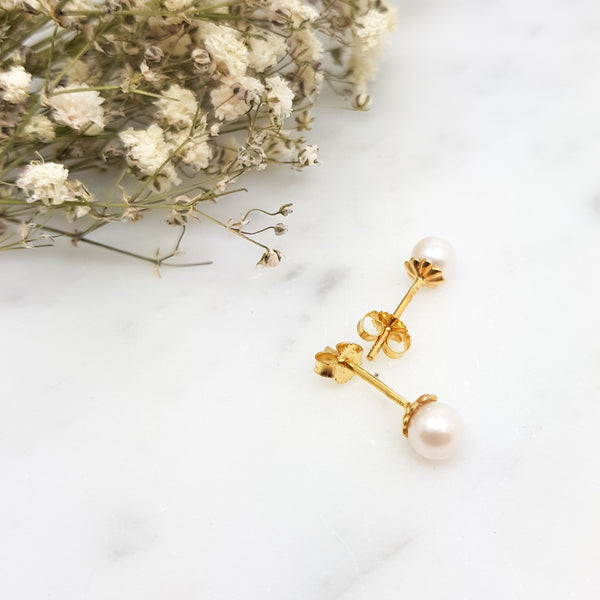 Medium Cultured Pearl and 9ct Yellow Gold Studs