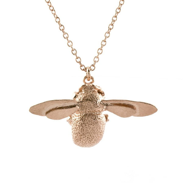 Alex Monroe Bumble Bee Necklace - Rose Gold Plated Sterling Silver
