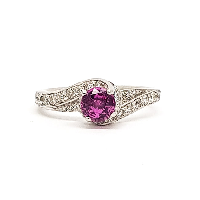 Pink Sapphire and Diamond 18ct White Gold Ring