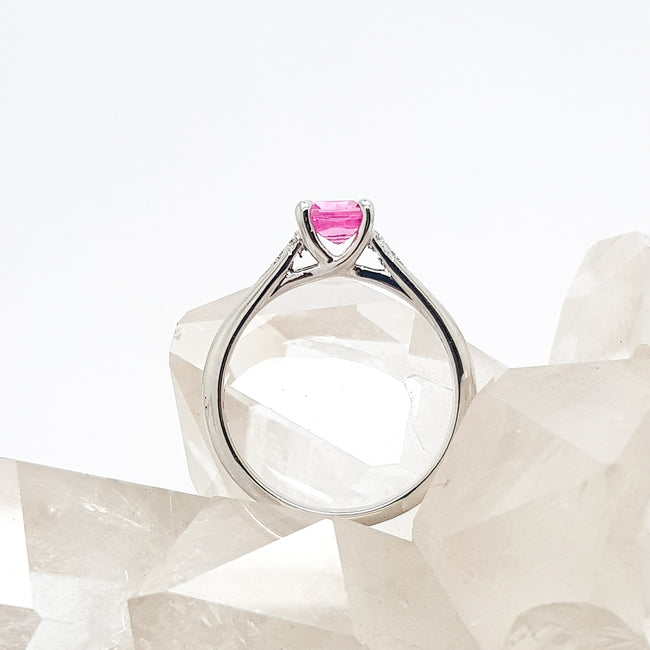 Princess Cut Pink Sapphire and Diamond 18ct White Gold Ring