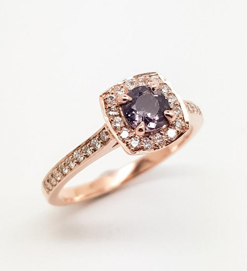 Grey Spinel and Diamond Halo Ring