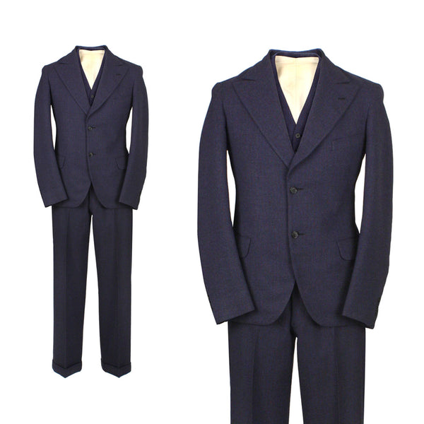 SOLD mens vintage 1930s three piece suit • flecked fabric 30s vintage menswear size 36 - Return of the Living Threads