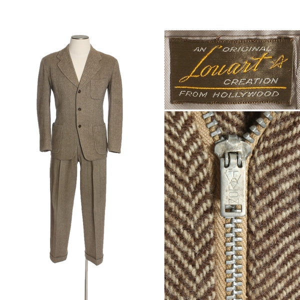 SOLD 1940s Herringbone Tweed Suit with Patch Pockets • Size 38 - Return of the Living Threads