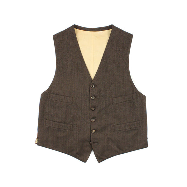 SOLD vintage 1930s mens vest brown tweed wool waistcoat - Return of the Living Threads