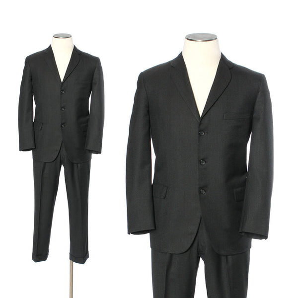 vintage sharkskin suit • mens classic 1960s 3 button suit with subtle shine - Return of the Living Threads