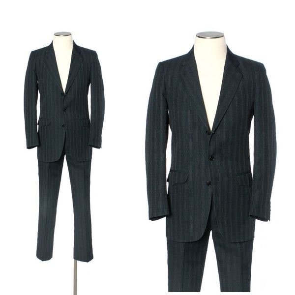 vintage 60s 70s mens western suit • tailored slim fit striped • size 38L - Return of the Living Threads