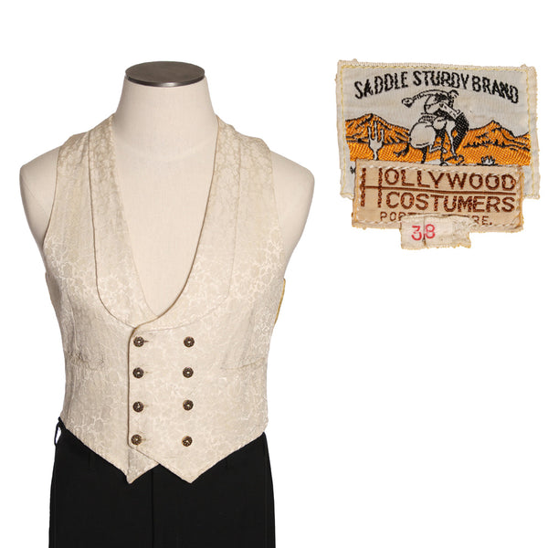 SOLD 1950s Mens Brocade Vest • Western Styled Gambler Waistcoat - Return of the Living Threads