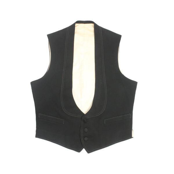 Mens Antique 1920s Waistcoat Black Wool Vest - Return of the Living Threads