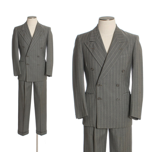 SOLD 1940s Gray Pinstripe Mens Double Breasted 2 Piece Suit - Return of the Living Threads