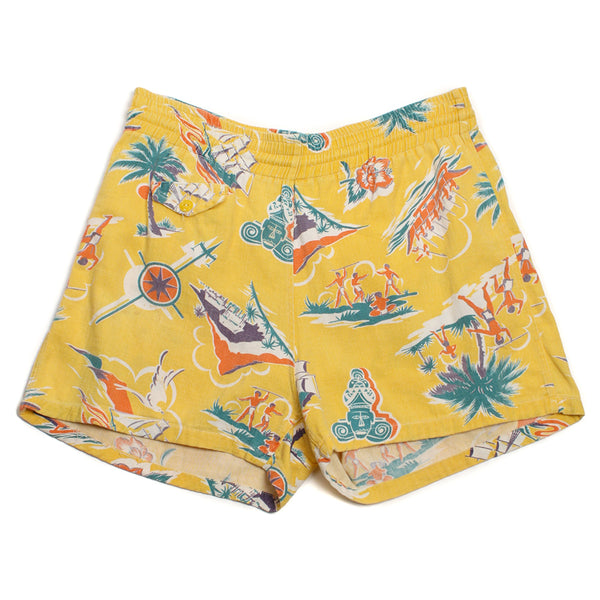 SOLD Mens Vintage 1950s Hawaiian Novelty Print Swim Trunks - Return of the Living Threads